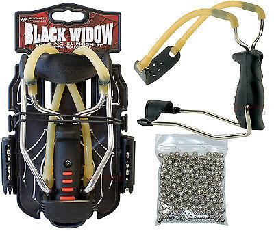 Barnett BLACK WIDOW Powerful Hunting Slingshot Catapult + 600 x 6mm BB Ammo