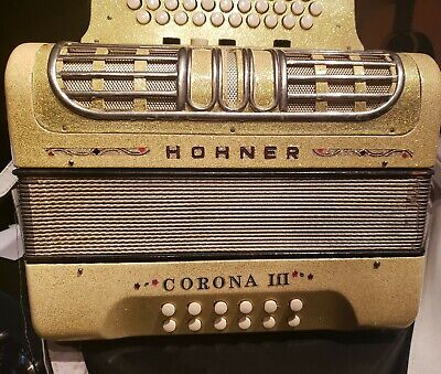 HOHNER CORONA III R   G-C-F 3 Row Button Accordion 5 Switch free shipping
