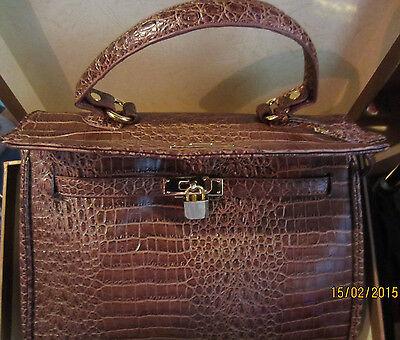 Elegance Chic, Damenhandtasche,Handtasche,Krokooptik,Kunstleder,Braun * NEU * - Leder Chic Handtasche