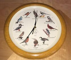 "National Audubon Society Singing Bird Wall Clock 13.5"" Works Nice Faux Wood"