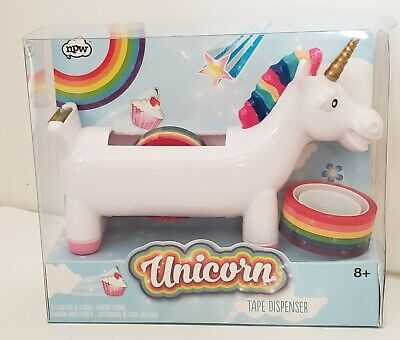 Tape Dispenser White Smiling Unicorn Desktop Tabletop 2 Rolls Rainbow Tape New