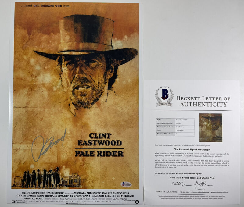 CLINT EASTWOOD SIGNED PALE RIDER 12x18 PHOTO MOVIE POSTER BAS LOA #A67021