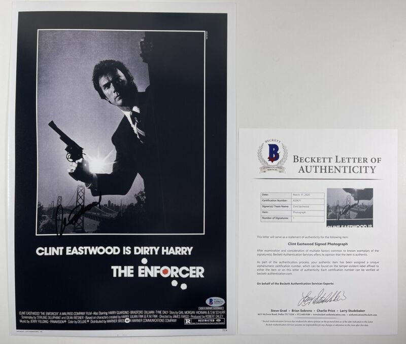 CLINT EASTWOOD SIGNED DIRTY HARRY THE ENFORCER 12x18 PHOTO BAS LOA #A59671