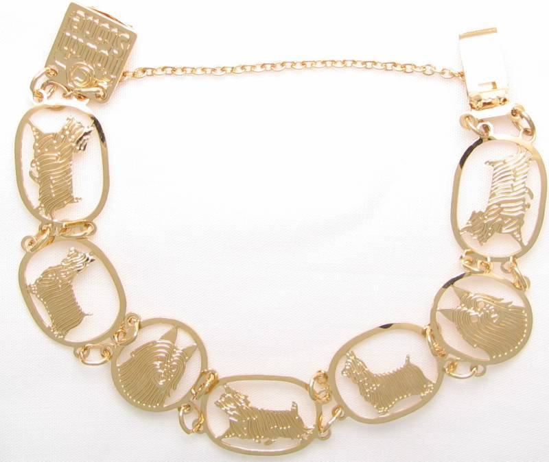 Silky Terrier Jewelry Gold Bracelet by Touchstone