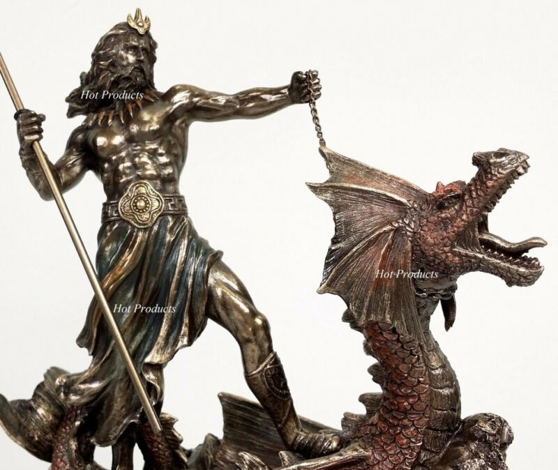 Poseidon Trident Hippocampus Dragon GREEK MYTHOLOGY God Sea Statue Bronze Finish