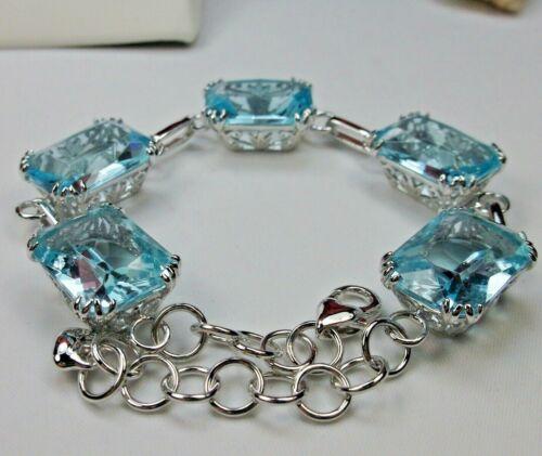 Sim Aquamarine Filigree Link Floral Rhodium Plated Bracelet (Custom-Made)*