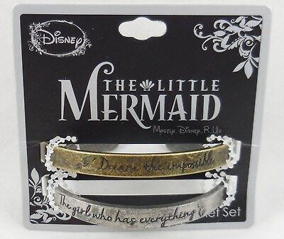 Neu Disney die Kleine Meerjungfrau Ariel Spruch Manschetten Metall Armband 2 Set ()