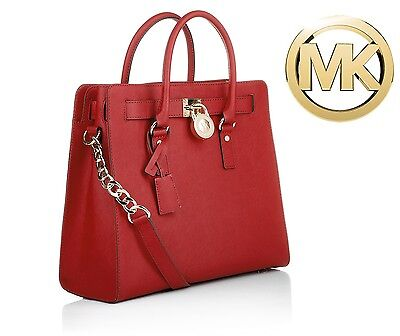 "Michael Kors ""The Perfect Red"" Large Saffiano Leather N/S Hamilton Tote Bag NWT"