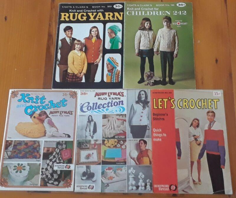 Lot Of 5 Knit Crochet Vintage Books 1960s 1970s Coats Clark