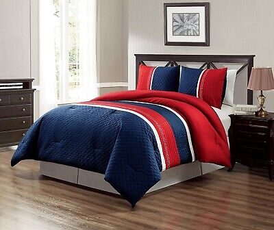 Navy Blue Red White Texas Lone Star Embroidered CAL King Size Comforter Set ()