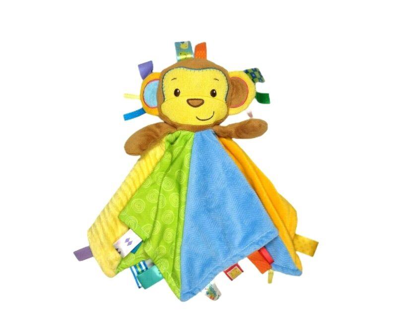 TAGGIES Plush MONKEY Security Blanket Lovey Baby Blue Yellow Green Orange EUC