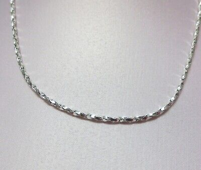 20 INCH 14KT WHITE GOLD EP 2mm SPARKLING TWISTED COBRA COMFORT CHAIN NECKLACE