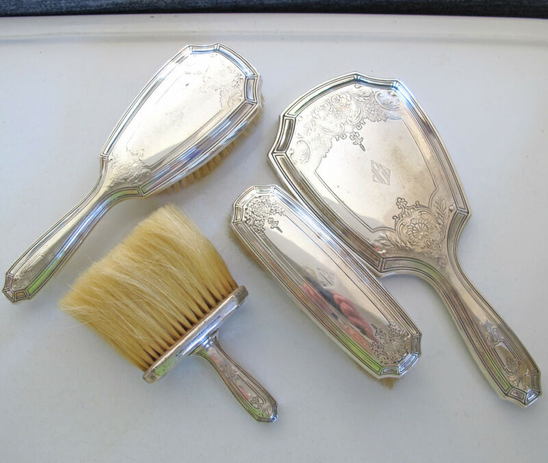 TIFFANY Sterling Silver 4 Piece VANITY DRESSER SET Hand Mirror, 3 Brushes