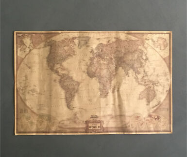 Framed world map gumtree australia free local classifieds world map vintage large antique paper gumiabroncs Image collections