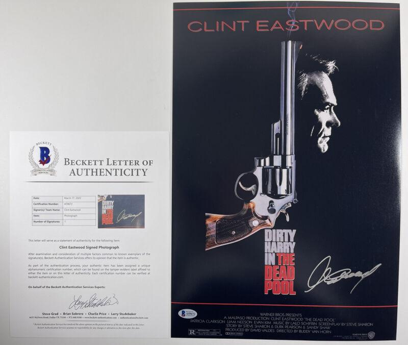 CLINT EASTWOOD SIGNED DIRTY HARRY THE DEAD POOL 12x18 PHOTO BAS LOA #A59672