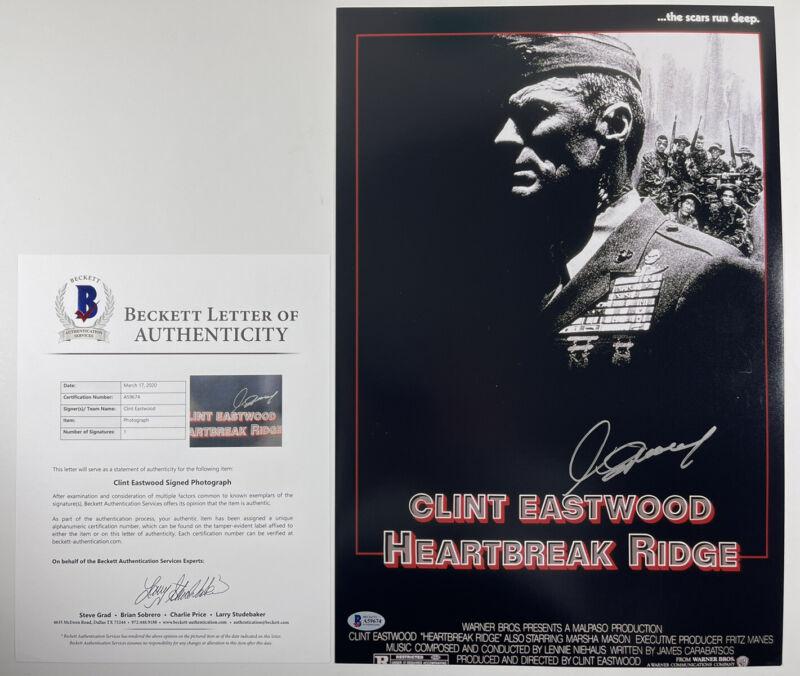 CLINT EASTWOOD SIGNED HEARTBREAK RIDGE 12x18 PHOTO MOVIE POSTER BAS LOA #A59674