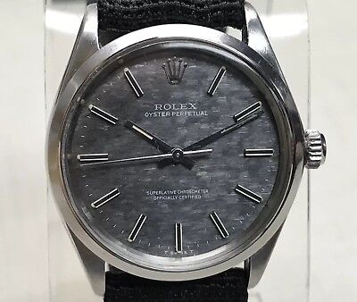 1972 ROLEX Model 1002 Stainless Steel Automatic Watch 26J Cal 1570 Slate Dial!