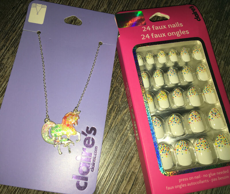 Claire's Rainbow Unicorn Necklace  Candy Sprinkle Stick On Nails Jewelry Lot