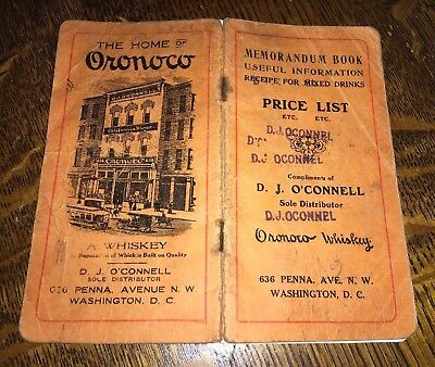 1915 ORONOCO RYE WHISKY Mixed Drinks Recipes COCKTAILS Price List BOTTLES Advert