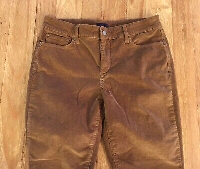 Cord Petite Jeans (NYDJ Not Your Daughters Jeans Petites 10P SKINNY caramel brown corduroy cords)