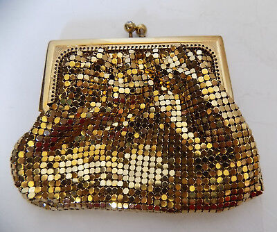 Vintage Duramesh Gold Mesh Change Purse Rhinestone Clasp Lined