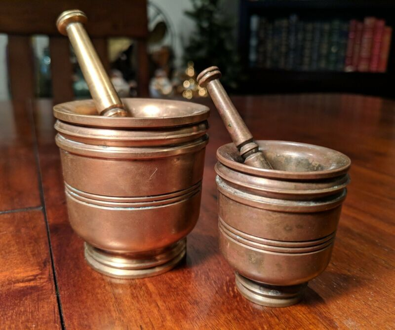 2 HEAVY Antique Solid Bronze MORTARS+PESTLES~Matching~Apothecary~Pharmacist~VTG