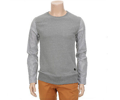 TATE Mens Casual Shirt Sleeve Detailed Crew Pullover Sweater Gray Size M NWT.