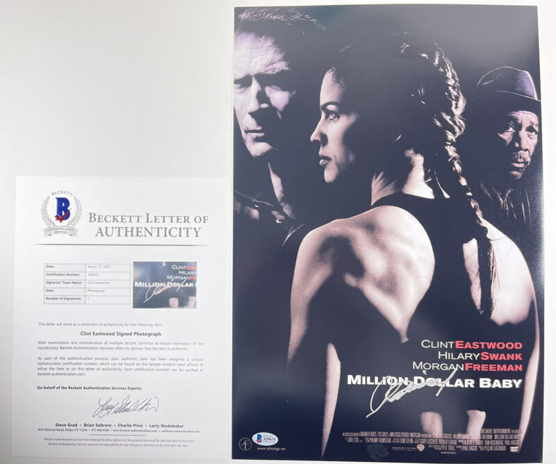 CLINT EASTWOOD SIGNED MILLION DOLLAR BABY 12x18 PHOTO POSTER BAS LOA #A59675