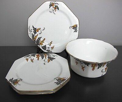 Vintage Art Deco Royal Stafford bone china Autumn TEA ~ CAKE ~ SIDE PLATE SET.