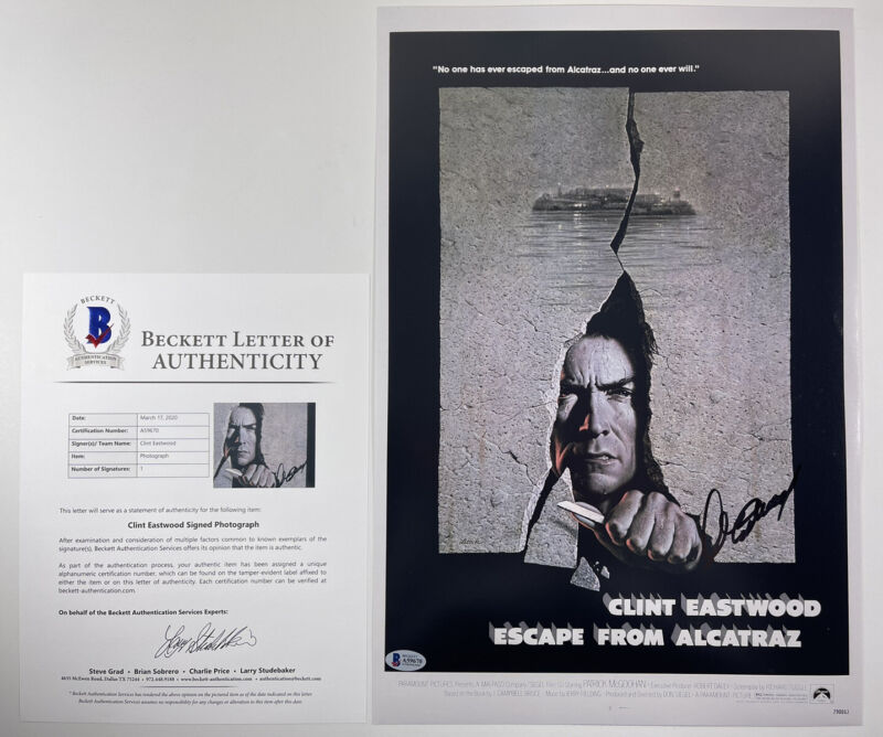 CLINT EASTWOOD SIGNED ESCAPE FROM ALCATRAZ 12x18 PHOTO POSTER BAS LOA #A59670