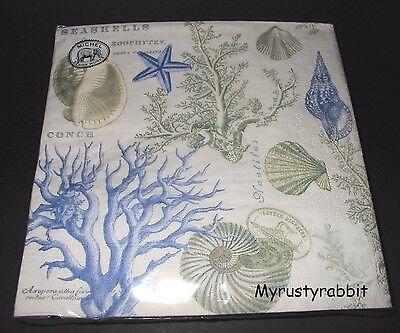 Seashore 20 Paper Luncheon Napkins ~ 3 Ply ~ Michel Beach Ocean Shells