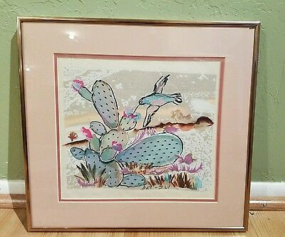 Original Mixed Media Fabric Painting of Hummingbird by Artist Bat Vzi