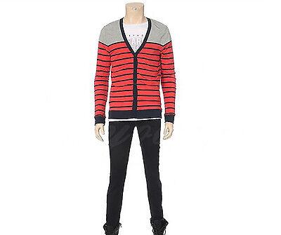 CLRIDE.n Mens Casual Multi Color Stripe V-Neck Cotton Cardigan Sweater Size S NE