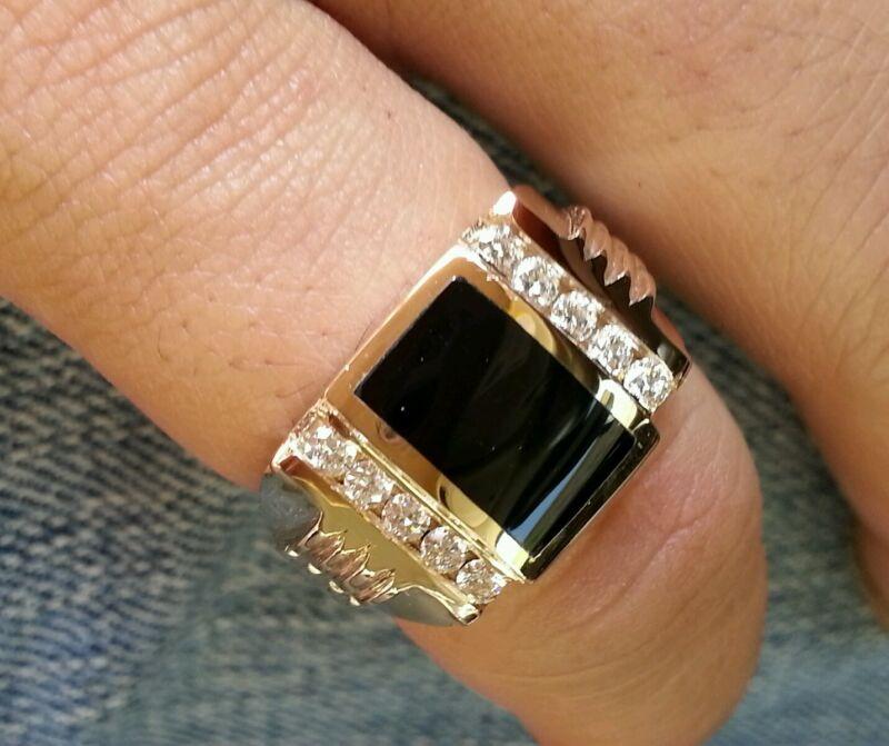 0.35 Ct 14k Solid Yellow Gold Mens Natural Diamond & Onyx Ring 2 Row 11.50 Grams