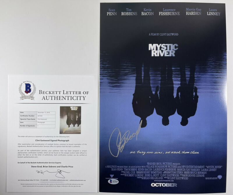 CLINT EASTWOOD SIGNED MYSTIC RIVER 12x18 PHOTO MOVIE POSTER BAS LOA #A67020