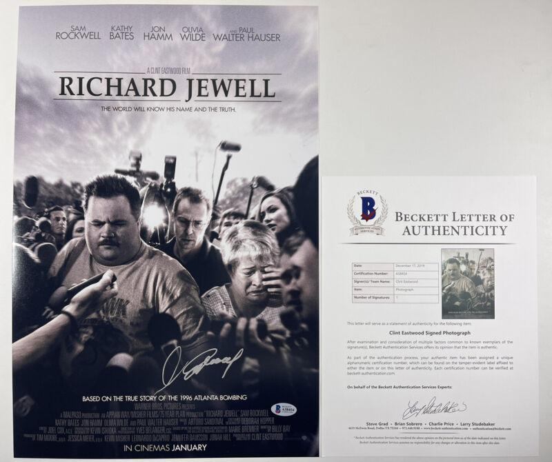 CLINT EASTWOOD SIGNED RICHARD JEWELL 12x18 PHOTO MOVIE POSTER BAS LOA #A58454