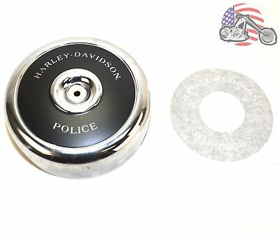 Round Black Chrome Air Cleaner Filter Cover Insert Harley Police Evo FXRP FLHTP