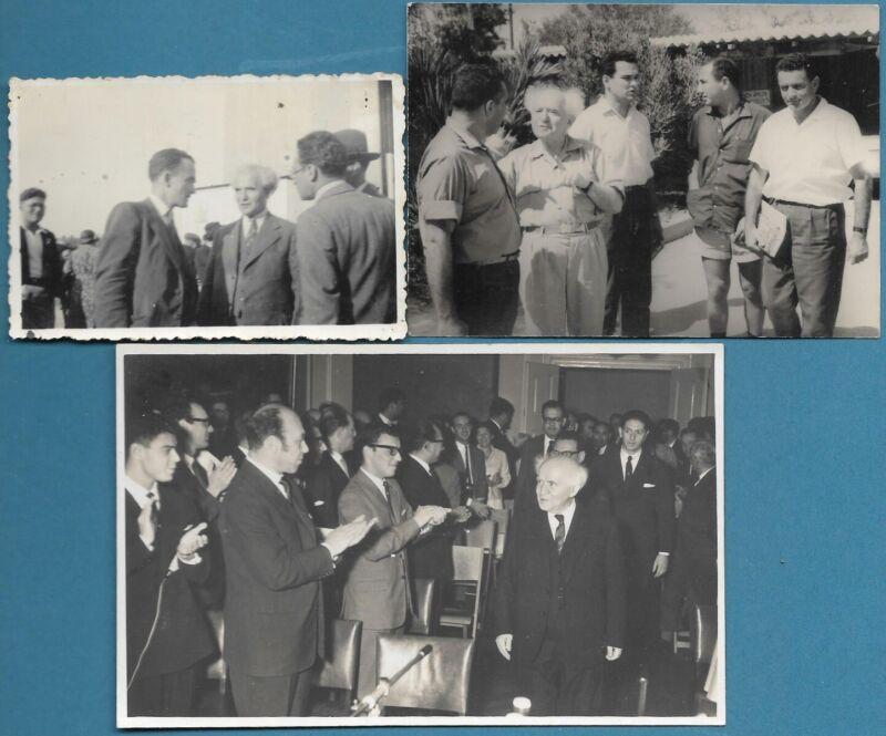 ISRAEL  Prime Minister  DAVID BEN GURION 3 real original photographs