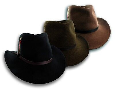 Crushable Wool Felt Outback Hat Cowboy Western Water Repellent Fedora S M L XL