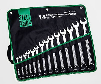 Steel Vision 62105 14 piece 12-Point Combination Wrench Set 3/8in -1-1/4in