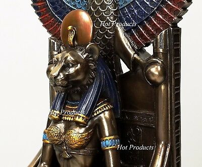 Egyptian Goddess Sekhmet Sitting on Throne Statue Sculpture Antique Bronze Color