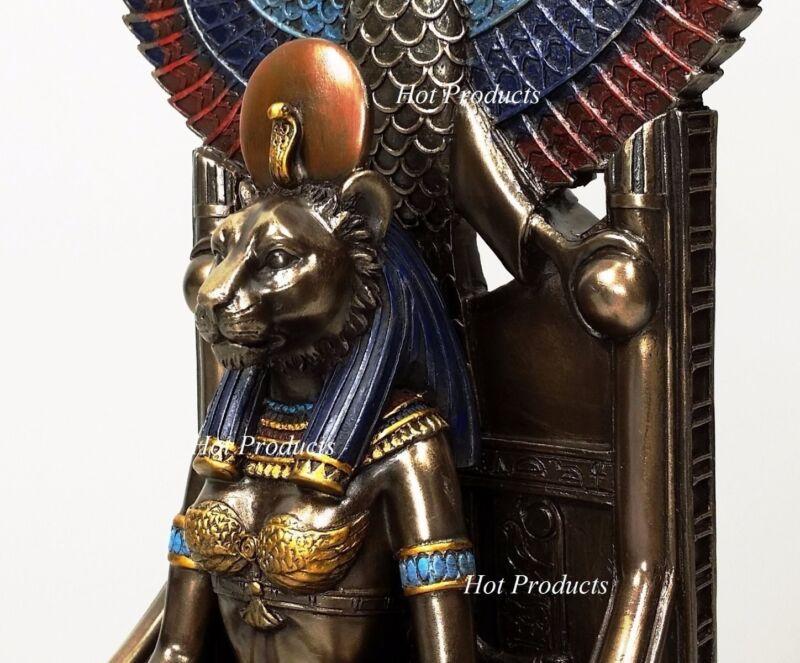 Egyptian Goddess Sekhmet Sitting on Throne Statue Sculpture Antique Bronze Color