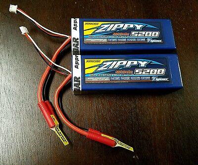 2 New Zippy 5200mAh 2S 7.4v 30C 40C Hardcase Lipo Battery ARMA LOSI VENOM REDCAT
