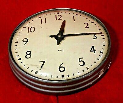 "Vtg IBM 13"" Industrial School Hard Wired 24V Round Wall Clock Mid Century 565"