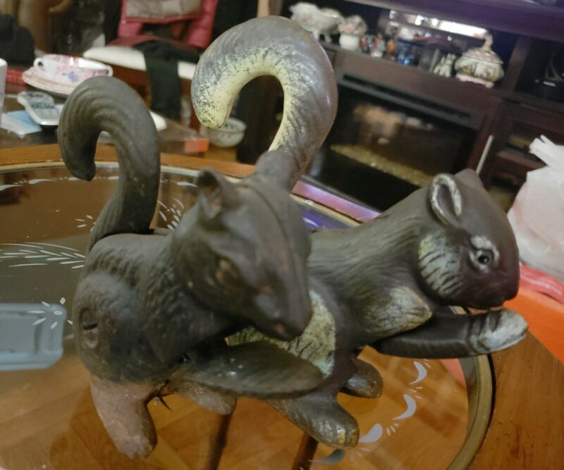 Vintage Pair Of Two Molded Cast Iron Nutcracker Squirrels~Good Working Condition