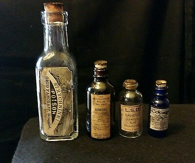 4 Vintage Style Bottles LSD, Arsenic, Cocaine, Cannabis Handcrafted by Artist