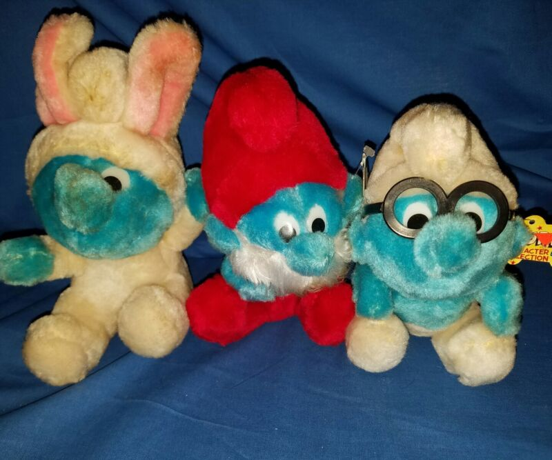 Vintage Stuffed Plush Smurfs Lot