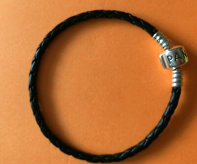pandora black leather bracelet 19cm long
