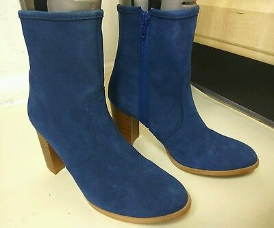 HOUSE OF HARLOW DESIGNER WOMENS BLUE SUEDE ANKLE MID CALF BOOTS UK 6.5 39.5