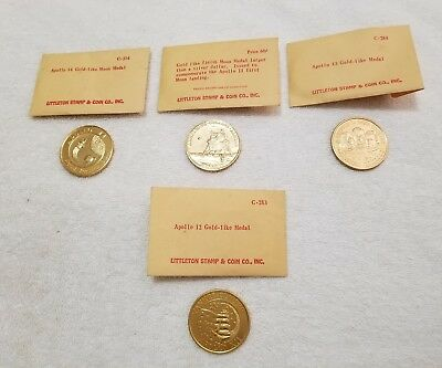 4  Apollo Gold Like Moon Medals  Pre Owned